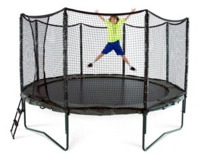 photo of a child jumping on the variable bounce trampoline