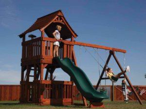kids having fun on their maverick playset